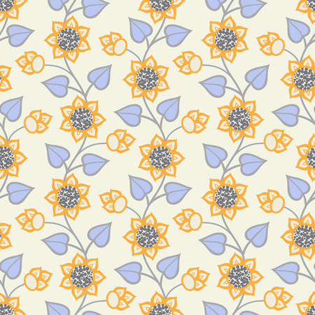 Seamless background with flowers with buds and curved stalks in orange, blue and grey colors on white backdrop