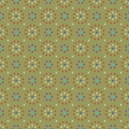Decorative seamless pattern with abstract objects from squares in blue, brown and white colors on olive background