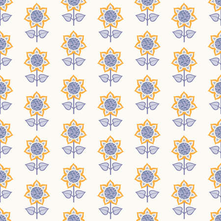 Seamless pattern with flowers in blue and yellow colors with straight stems on white background
