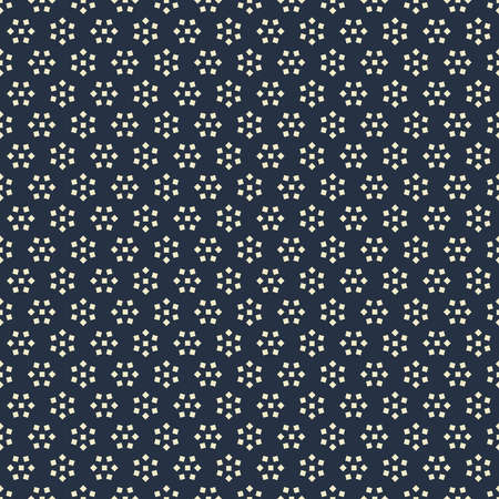 Seamless pattern with white abstract flowers from squares on dark blue background Ilustrace