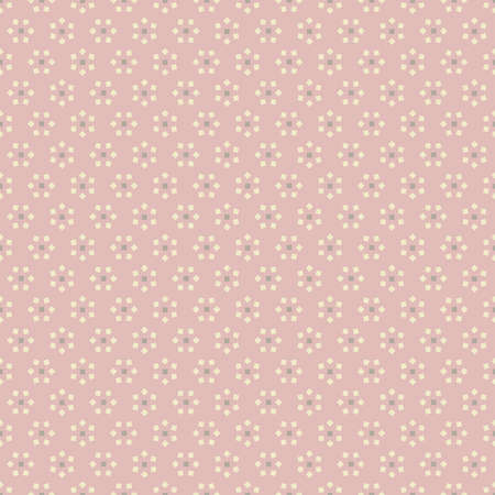 Abstract seamless background with white flowers from squares on pink backdrop