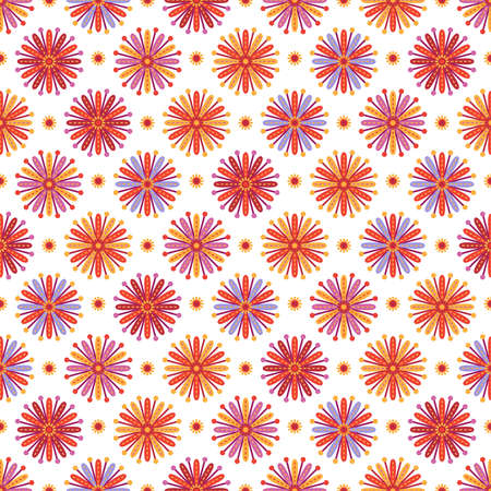 Seamless background with flowers with multicolored petals on white backdrop Ilustração