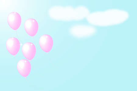 Pink balloons flying into the sky