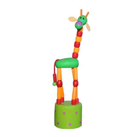fake smile: Colourful Fake Toy Giraffe isolated on white