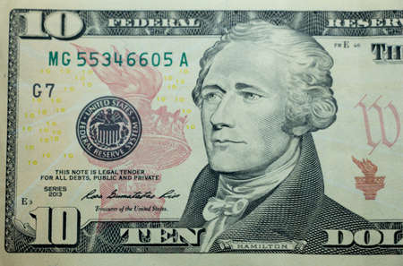 alexander hamilton: Ten dollar bill (10 usd) closeup macro, Alexander Hamilton portrait, united states money close up, 2013 series