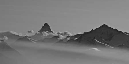 The Matterhorn in the mist. Aerial view. Stock Photo - 9502764