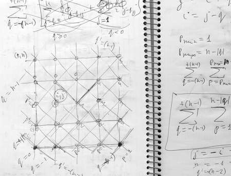 Fragment of open notebook with records of student who studies  branch of physics quantum mechanics. Scheme and formulas describe  interaction of atoms. The image can be used as background.