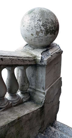 the isolated fragment of the old destroyed handrail and curbstone with a sphere on a white background. they have cracks and the peeled-off finishing.