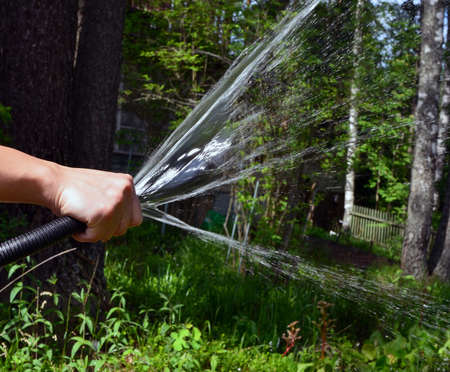 suntanned hand watering plants with use of a garden hose