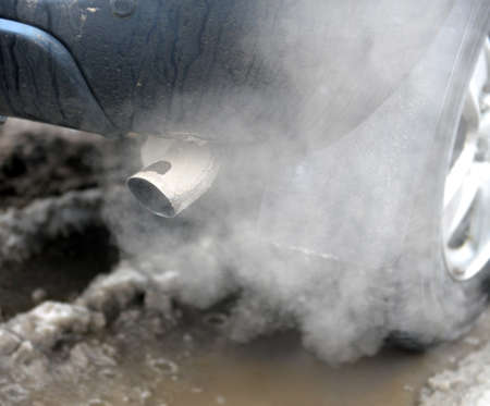 Exhaust gases take off from an exhaust pipe of the car.