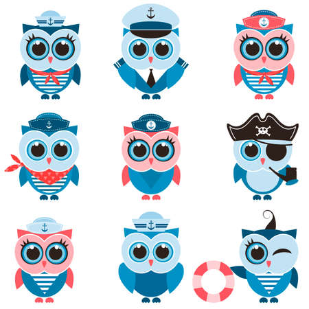 pirate crew: sailor owls and owlets set Illustration