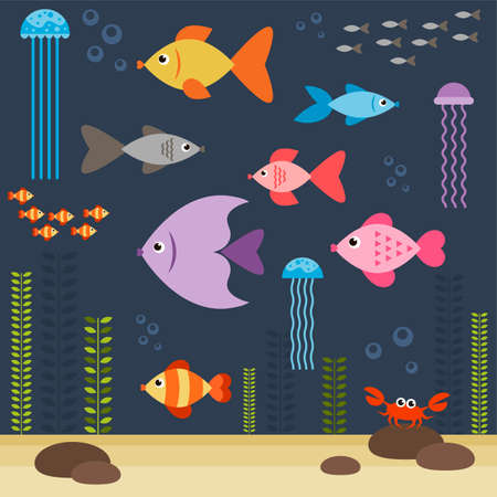 green crab: underwater world with fishes Illustration