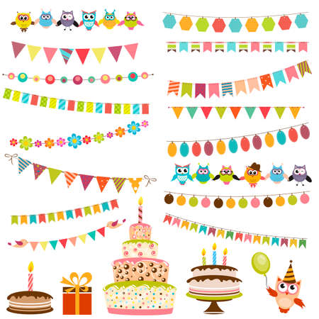 food illustration: Color Birthday bunting set