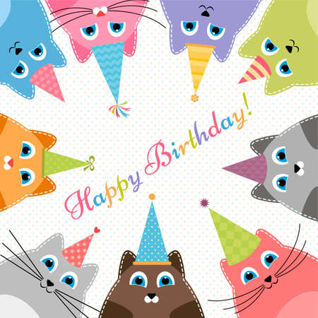 cat's eye glasses: Birthday card with cute colorful cats Illustration