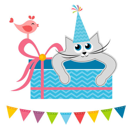 tot: Cat and bird with gift Illustration