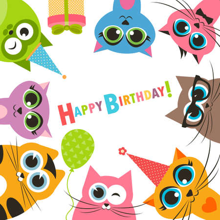 happy people white background: Birthday card with funny cats