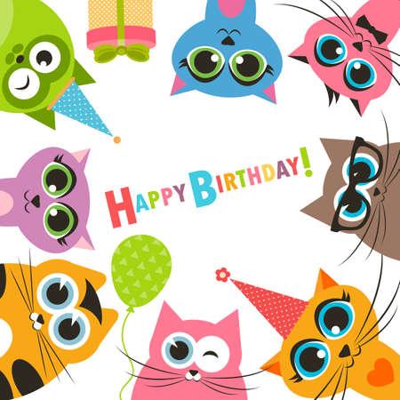 gato caricatura: Tarjeta de cumpleaños con los gatos divertidos