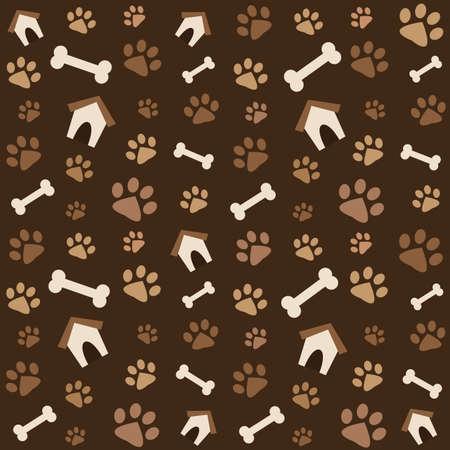 足跡と骨ブラウン ・柄  イラスト・ベクター素材