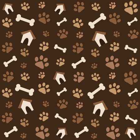 prints: brown pattern with footprints and bones