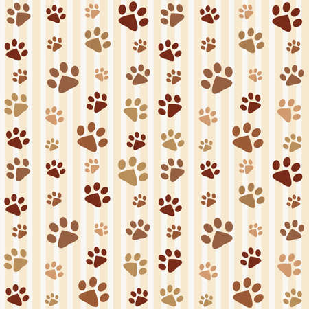 cat paw: brown footprints seamless pattern Illustration