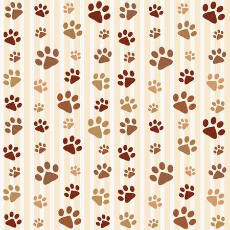 paw paw: brown footprints seamless pattern Illustration