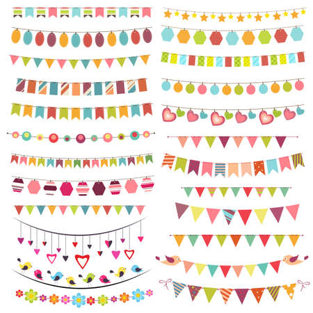 Colorful bunting and garlands Stock Illustratie