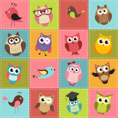 cartoon emotions: patchwork background with owls Illustration