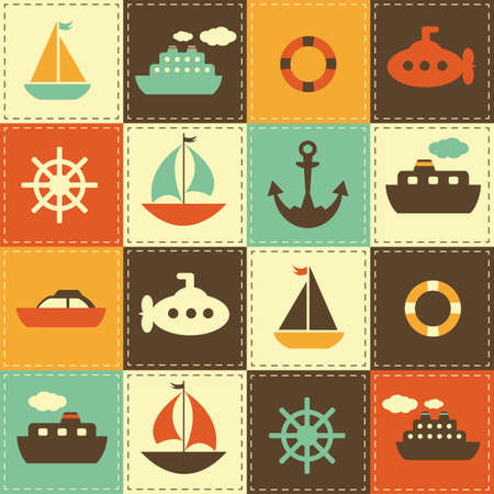 toy boat: patchwork background with sea transport