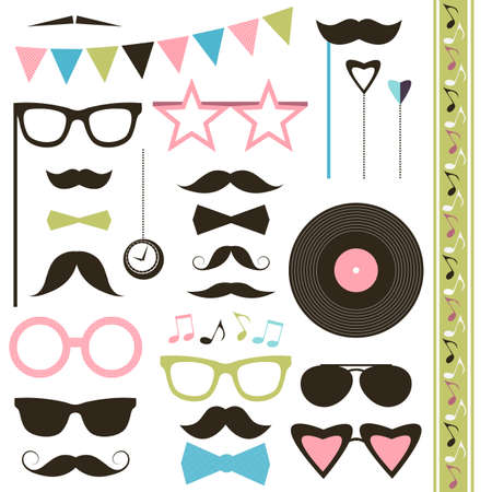retro disco: Set of retro disco party elements. Mustaches and sunglasses. Illustration