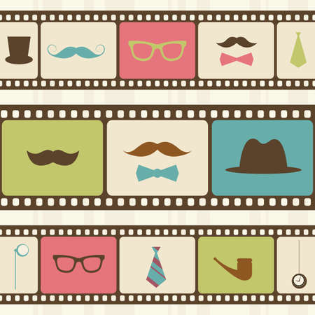 fake mustaches: Retro background with film strips, mustaches and sunglasses Illustration