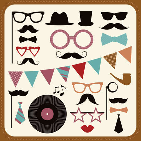 fake mustaches: Set of retro party elements.