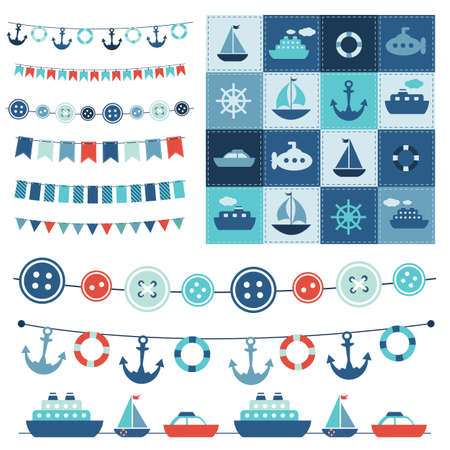 Funny background: sea garland and patchwork