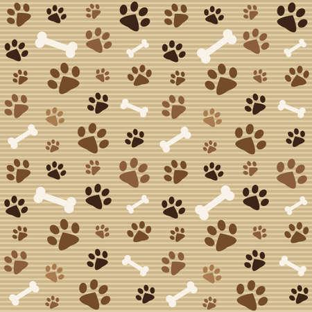 huellas de perro: patrón con huellas marrones y los huesos