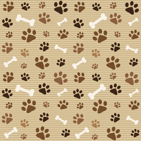 pattern with brown footprints and bones Ilustracja
