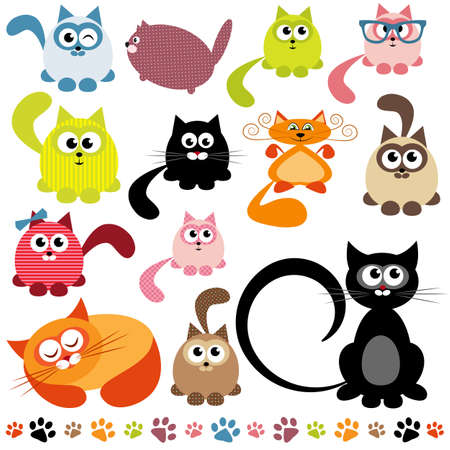 green cute: set of cats