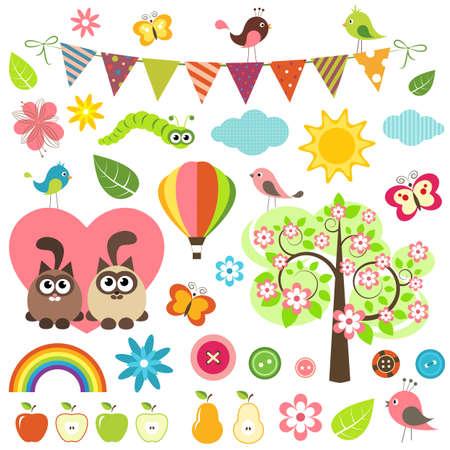 birds cartoon: spring set