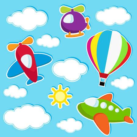hemel met het luchtvervoer stickers Stock Illustratie