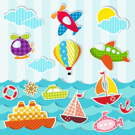 juguete: conjunto de transporte mar�timo y a�reo Vectores