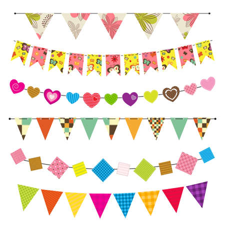 happy summer: Textured bunting and garland set Illustration