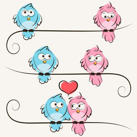 hand drawn birds in love Illustration