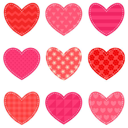 amur: Set of red and pink hearts Illustration