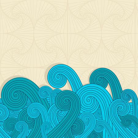 かわいい青い波背景