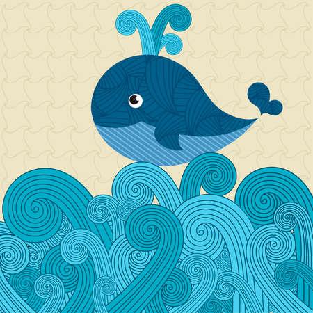 Patterned whale on the waves Illusztráció
