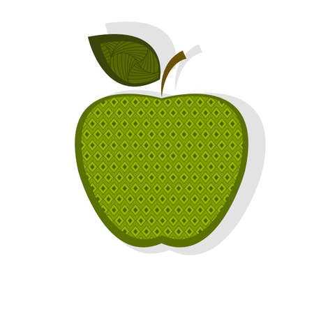 shadow: Patterned green apple with shadow Illustration