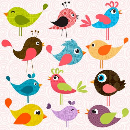 パターン化された鳥のセット