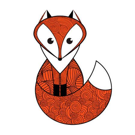 Patterned cartoon red fox