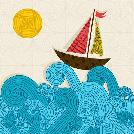 vague: Bateau sur les vagues Illustration