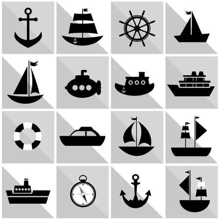 lifeboat: background with black sea transport Illustration