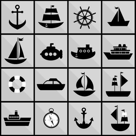 lifeboat: background with black silhouettes of sea transport Illustration