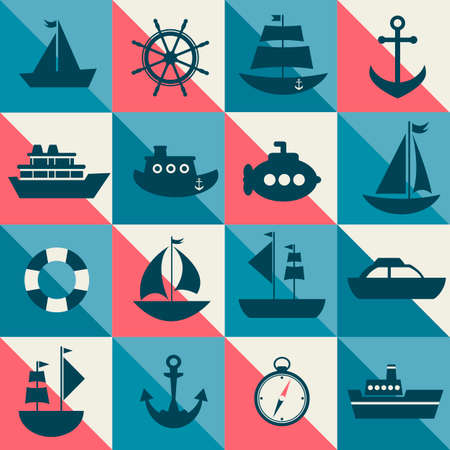 sea transport: Blue and red background with sea transport Illustration